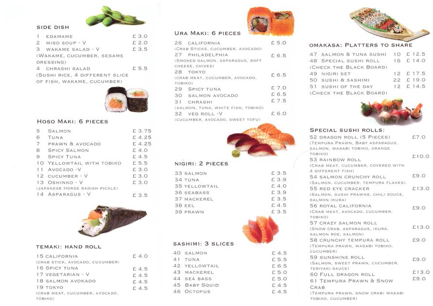 The Sushi Maki Newbury Menu