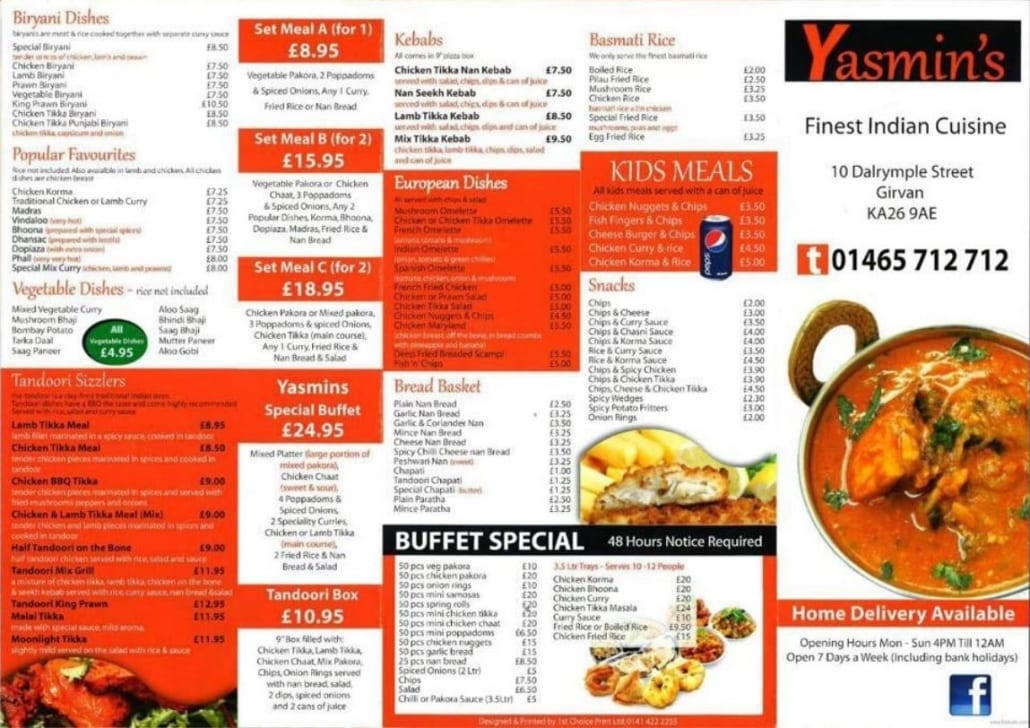 Yasmins Fine Indian Cuisine Takeaway and Restaurant Menu